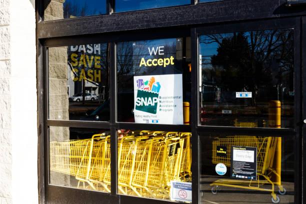 Sign at a Retailer - We Accept SNAP I stock photo