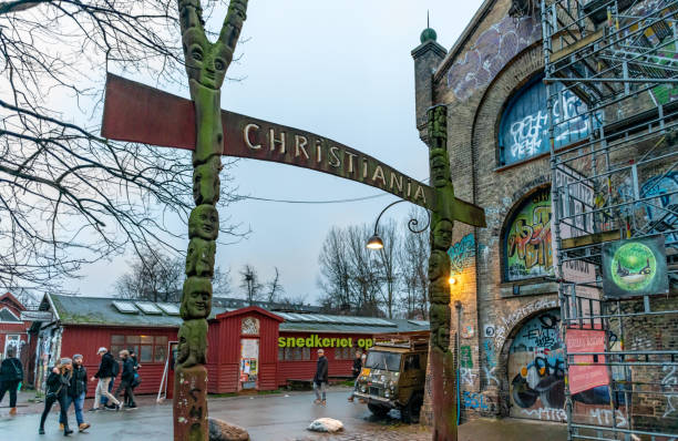Sign at entrance of Freetown Christiania district in Copenhagen, Denmark stock photo