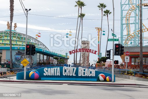 Santa Cruz, California, USA - March 31, 2018: Sign at entrance of Santa Cruz Beach Boardwalk, California's oldest surviving amusement park offers a variety of games.