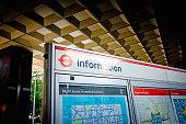 Information sign for Euston station outside the entrance.