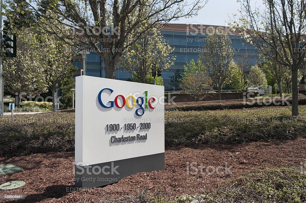 Sign at Google Headquarters stock photo