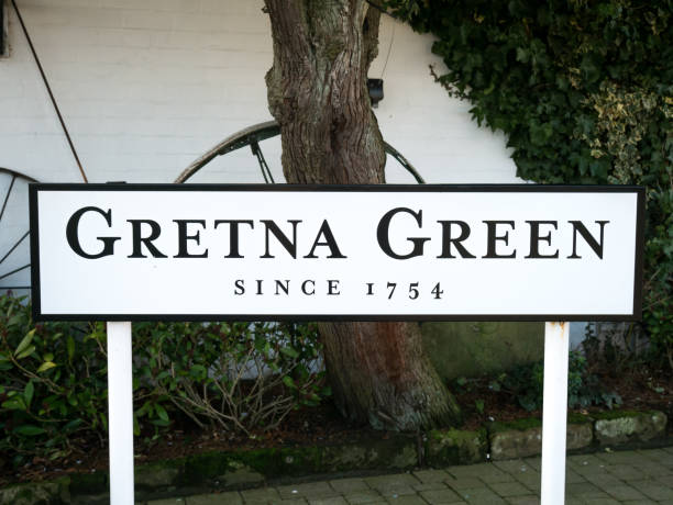 sign at gretna green - place sign stock pictures, royalty-free photos & images