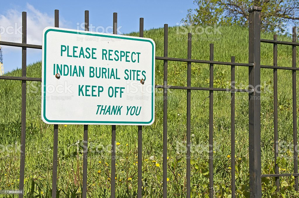 Sign at Indian Burial Mound Park in Minnesota stock photo