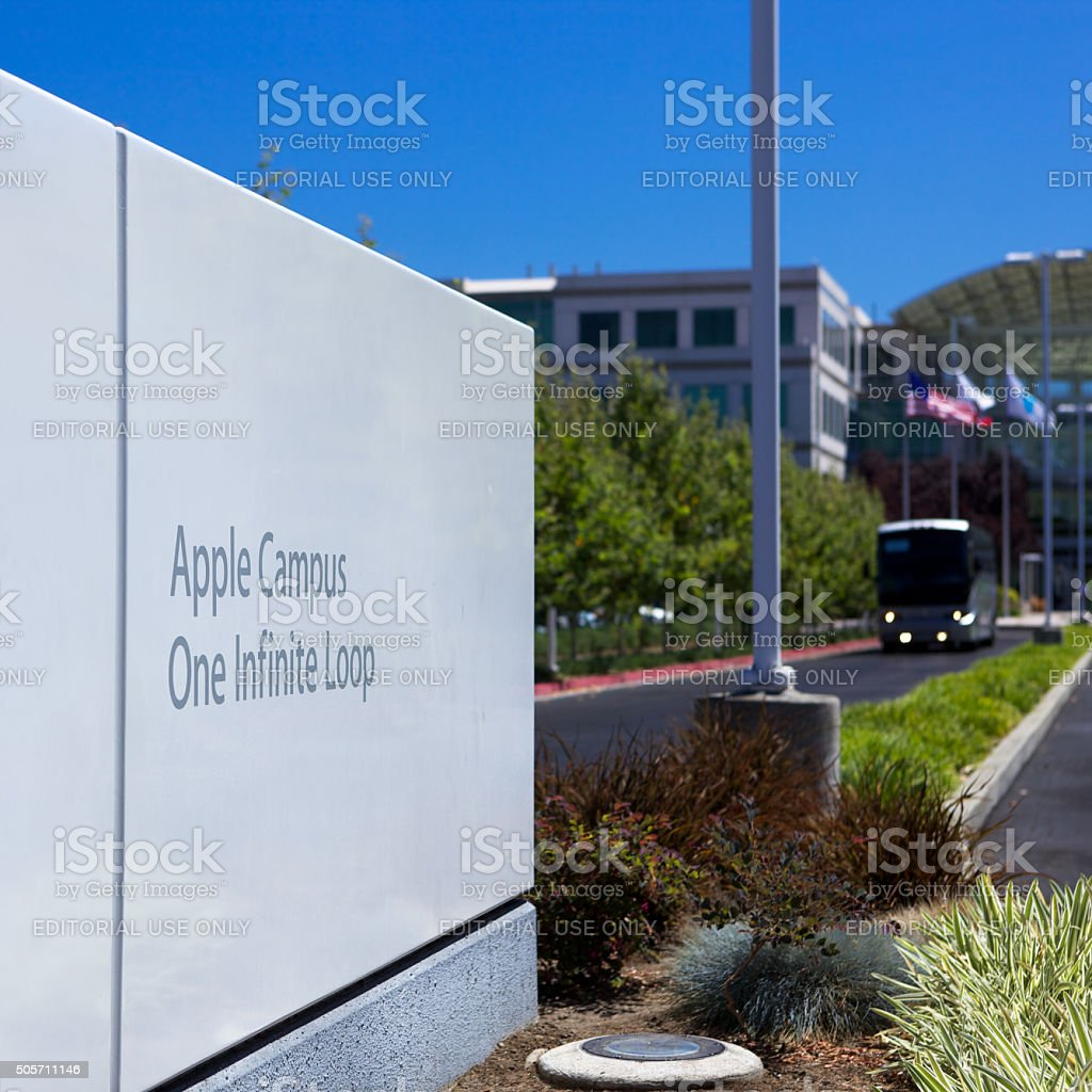 Sign at main entrance of Apple, Inc. in Cupertino, CA stock photo