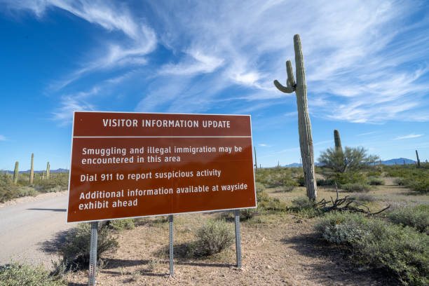 Sign at Organ Pipe National Monument, near the US and Mexico border, warns visitors to be aware of drug cartels and illegal immigration in the area Sign at Organ Pipe National Monument, near the US and Mexico border, warns visitors to be aware of drug cartels and illegal immigration in the area drug cartel stock pictures, royalty-free photos & images