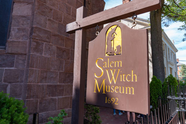 Sign at the Salem Witch Museum stock photo