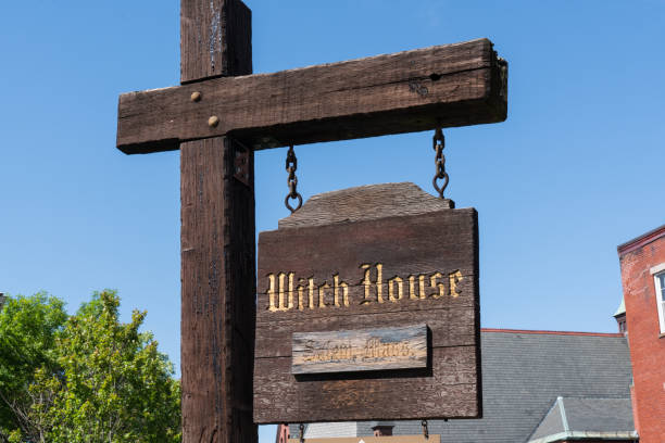 Sign at the Witch House of Salem, Massachusetts stock photo