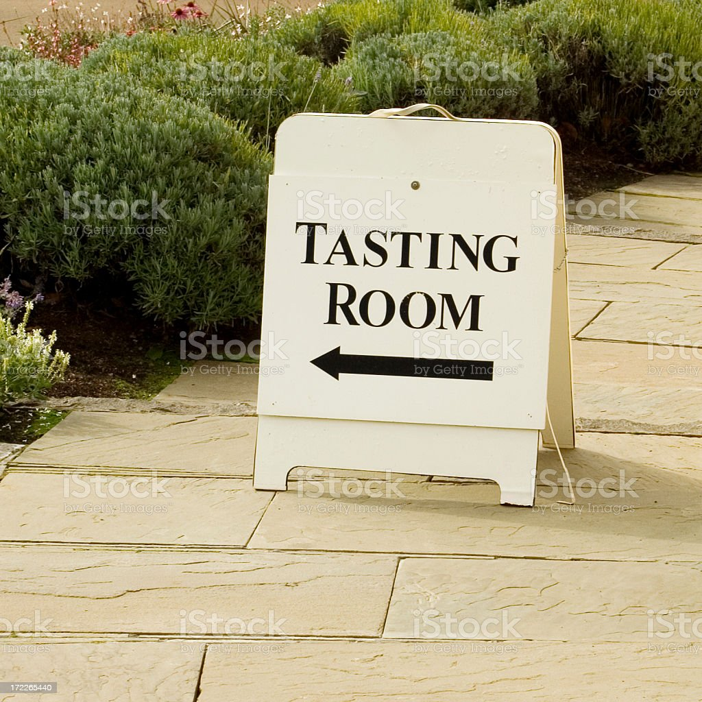 Sign at Winery for Wine Tasting royalty-free stock photo