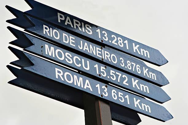 accedere alla fine del mondo - cartello stradale italia km foto e immagini stock