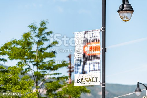 Basalt, USA - July 14, 2019: Closeup of sign banner on lamp post for historic downtown of small town city in outdoor summer street
