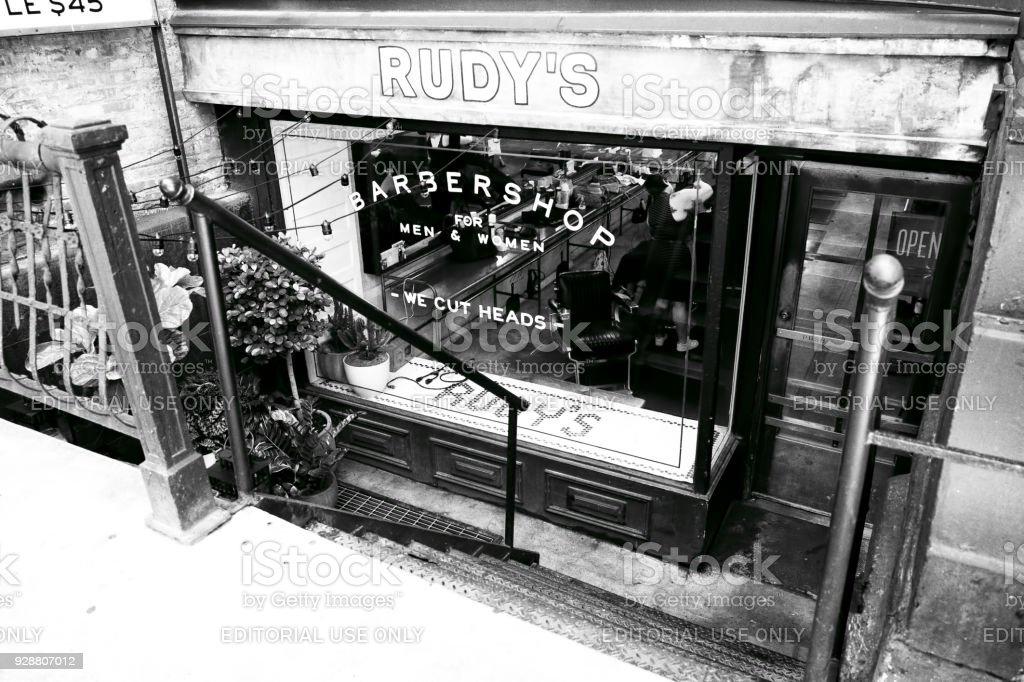 Sign, Barber Shop, New York, USA stock photo