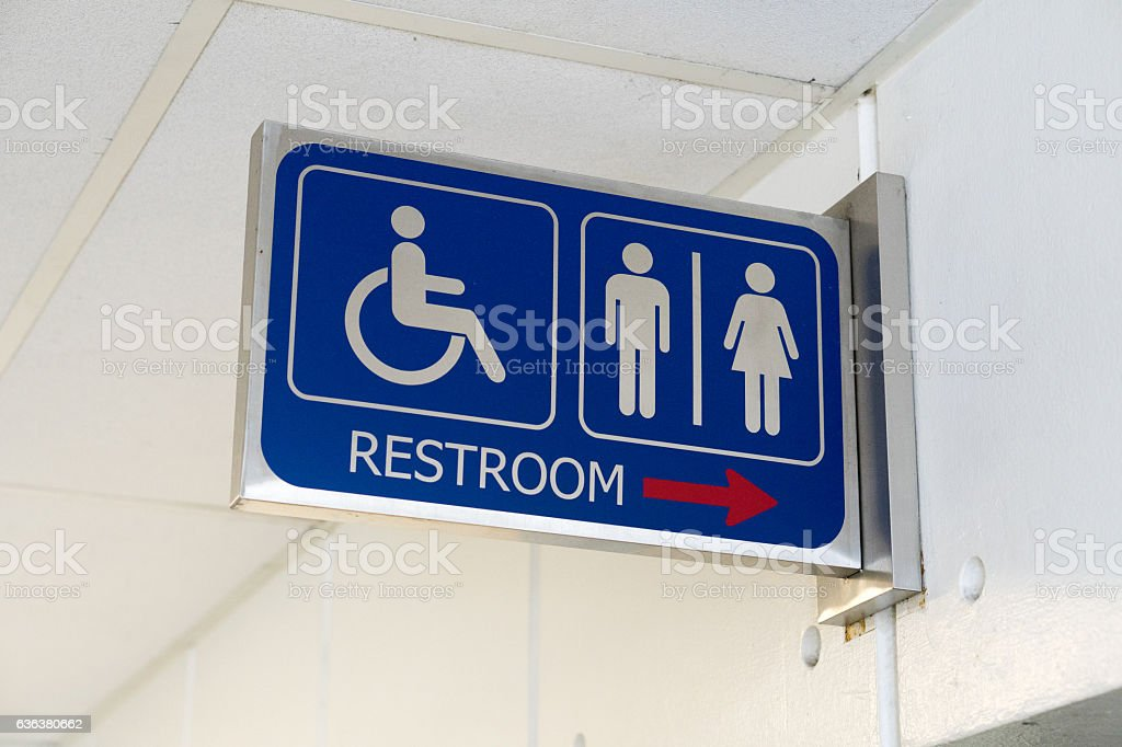 Sign bathrooms for men, women and the disabled stock photo