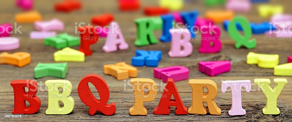 Sign BBQ Party on the wood board stock photo