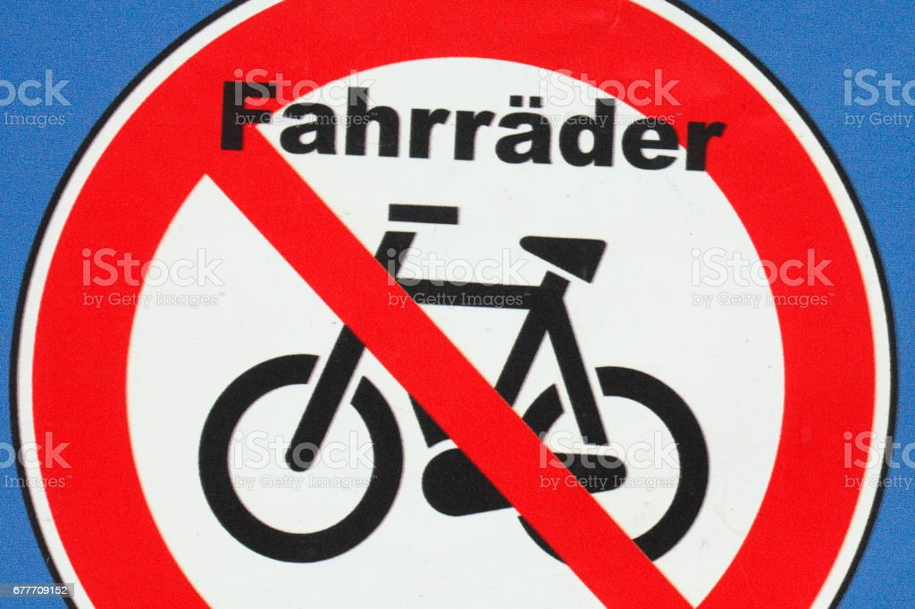 Schild Fahrrad abstellen verboten stock photo