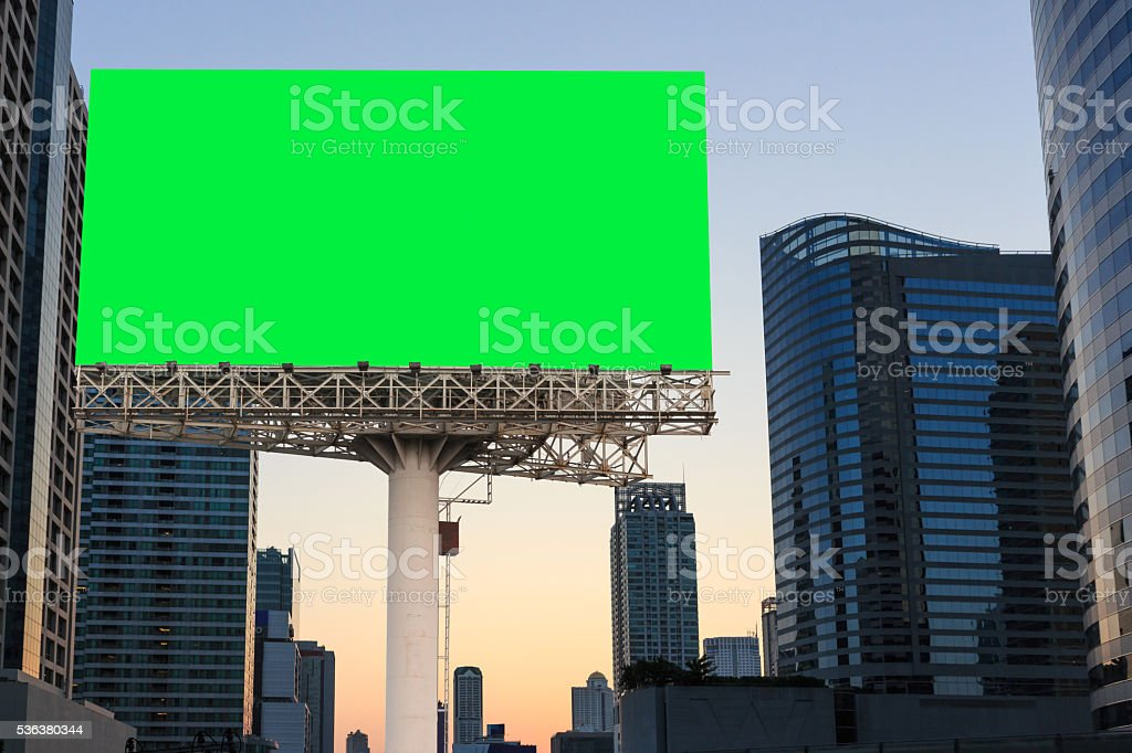 Sign billboard blank on green isolated and urban landscapre background