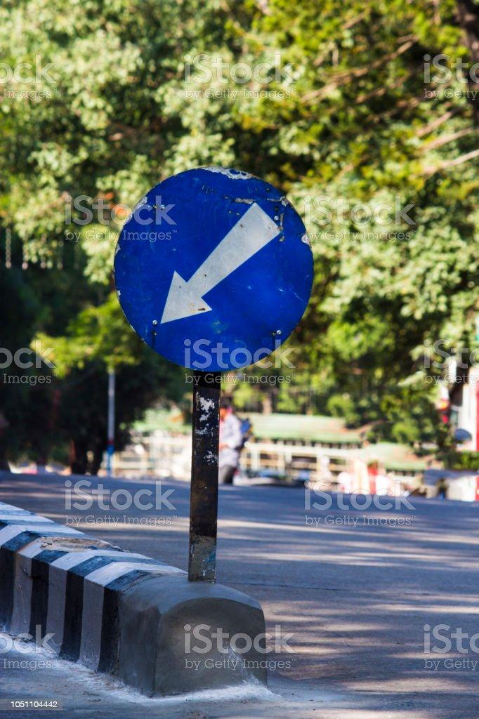 sign board blue arrow stock photo