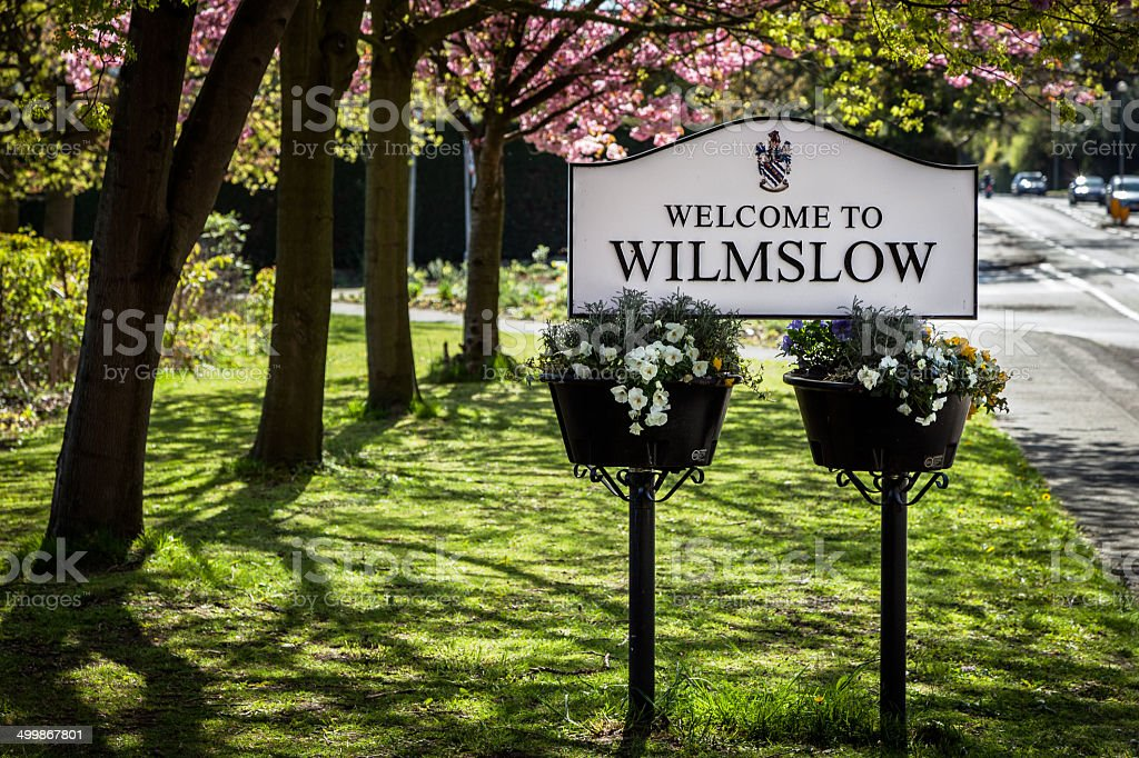 Sign board Wilmslow stock photo