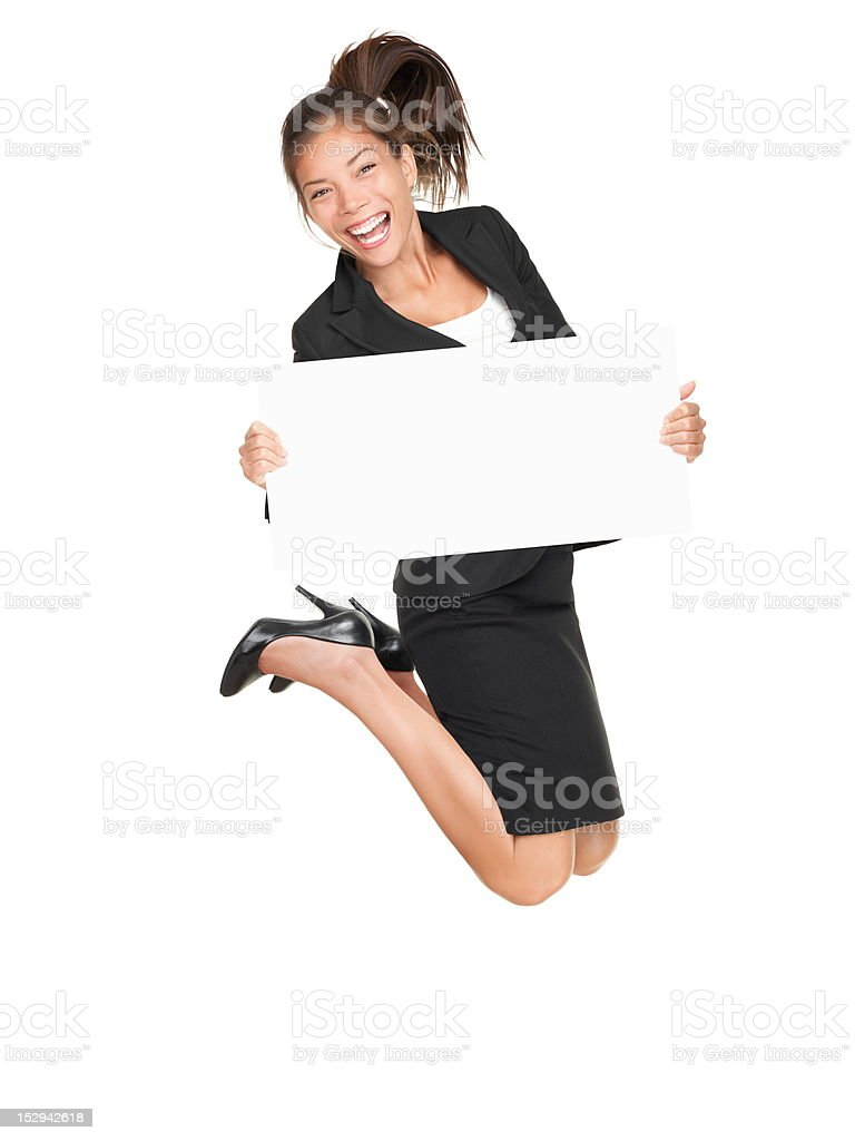 Sign businesswoman jumping success royalty-free stock photo