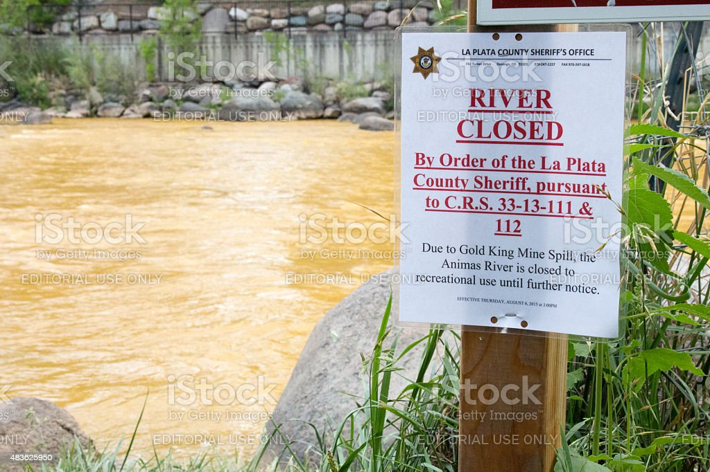 Sign closing the Animas River due to toxic waste stock photo