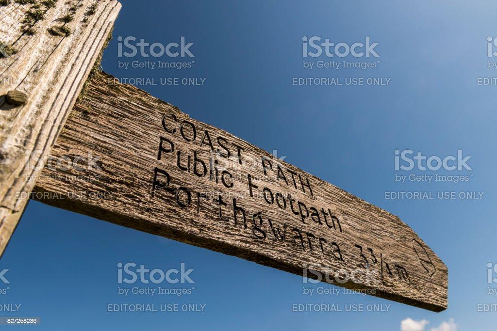 Sign Coast Path stock photo