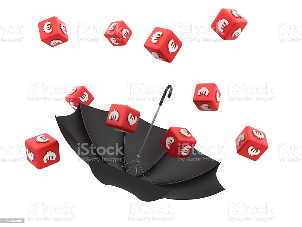 EURO Sign Cubes with Umbrella royalty-free stock photo