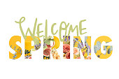 istock WELCOME SPRING sign cut out of floral bouquet on white 945548574