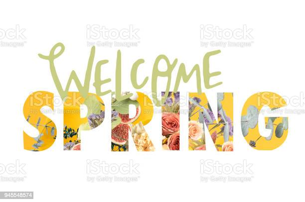 Photo of WELCOME SPRING sign cut out of floral bouquet on white