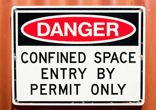 Sign - Danger Confined Space Danger Sign. Confined Space Entry by Permit Only. confined space stock pictures, royalty-free photos & images