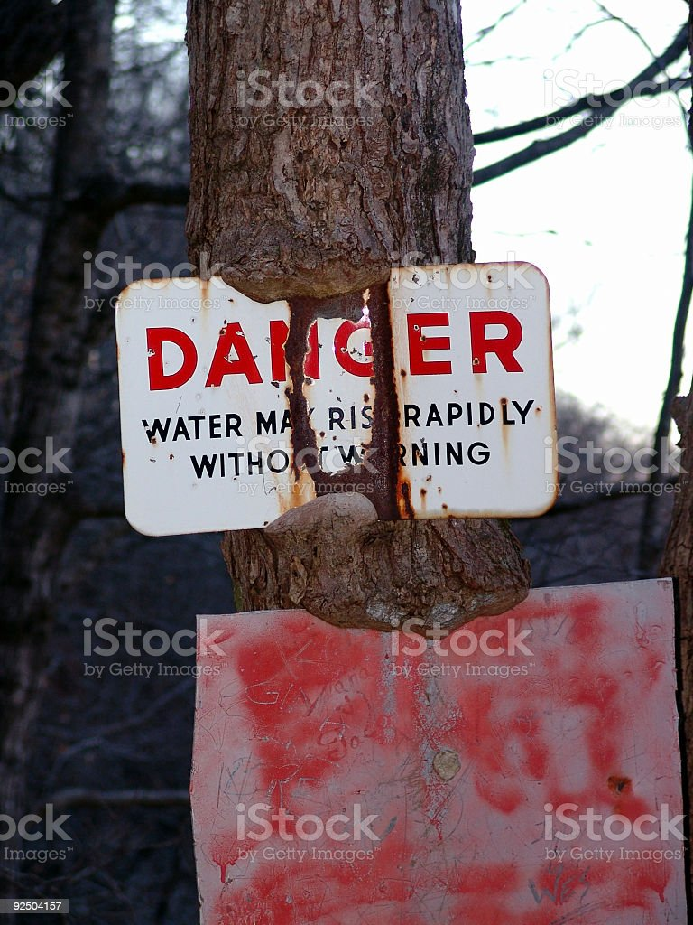 Sign, Danger! stock photo
