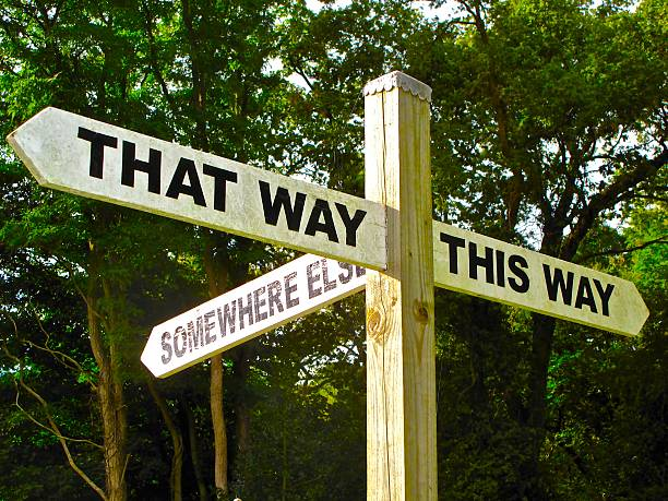 sign depicting indecision opportunity the way forward stock photo