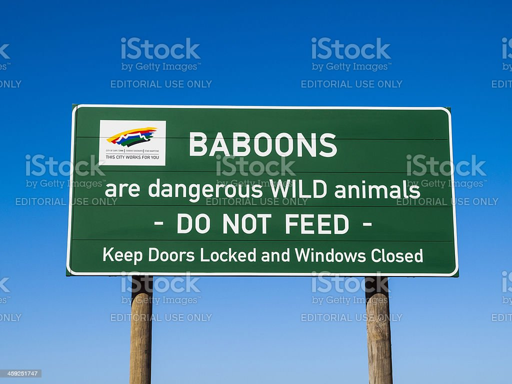 Sign, Do not Feed Baboons royalty-free stock photo