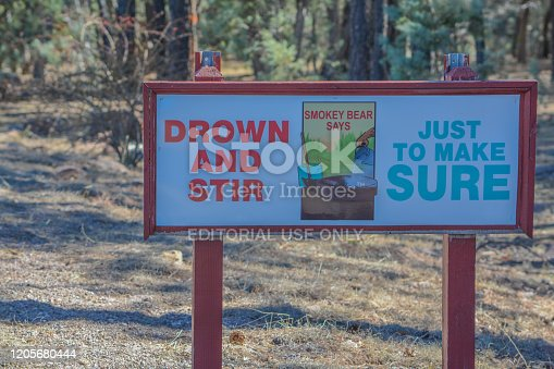 Sign - Drown and Stir, Just to Make Sure. Near Overgaard in Sitgreaves National Forest, Navajo County, Arizona USA