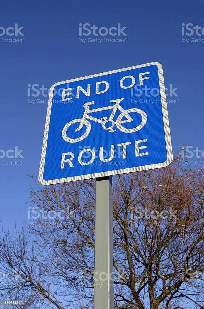 Sign, End of Cycle Route royalty-free stock photo