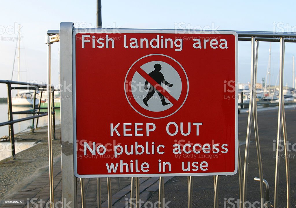 Sign, Fish Landing Area royalty-free stock photo