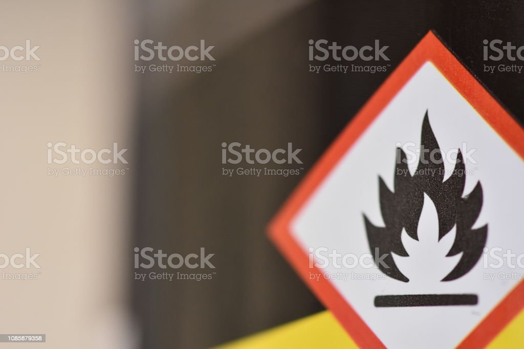 A sign - flammable A sign - flammable Chemical Stock Photo