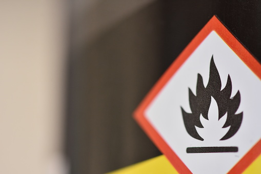 A Sign Flammable Stock Photo - Download Image Now