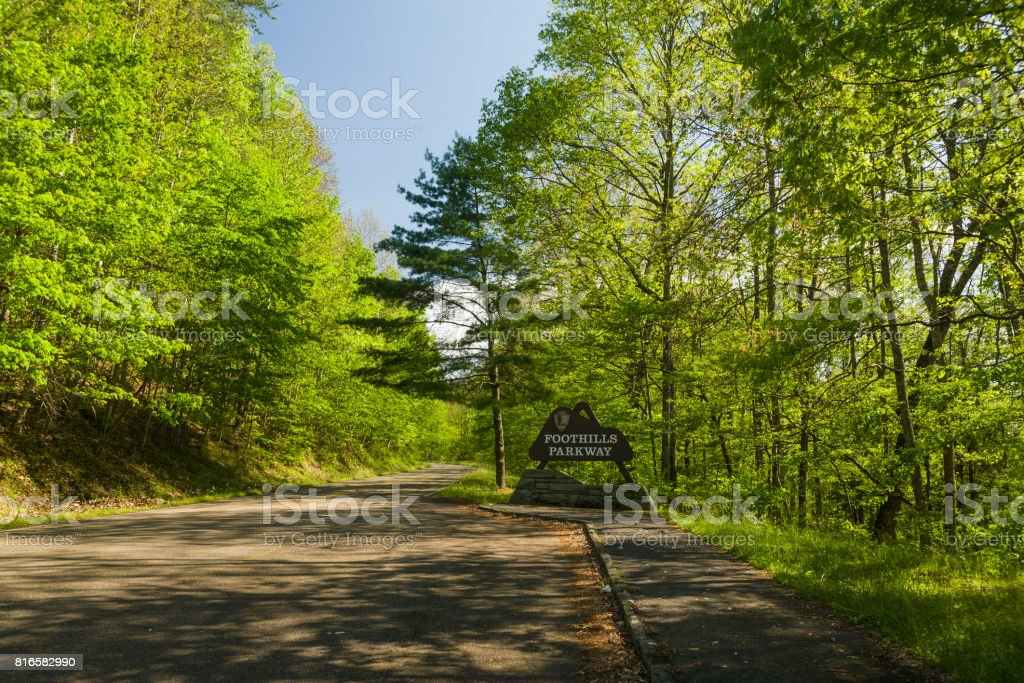 Sign, Foothills Parkway, East TN stock photo
