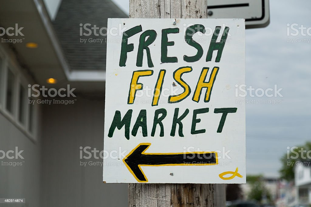 Sign for a Fresh Fish Market stock photo