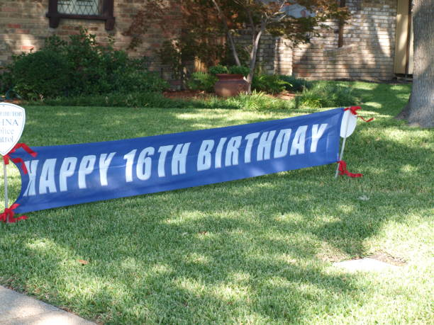 Sign for a Happy 16th Birthday stock photo
