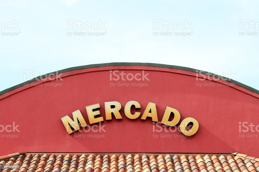Sign for a Mercado (market) with tile accents. stock photo
