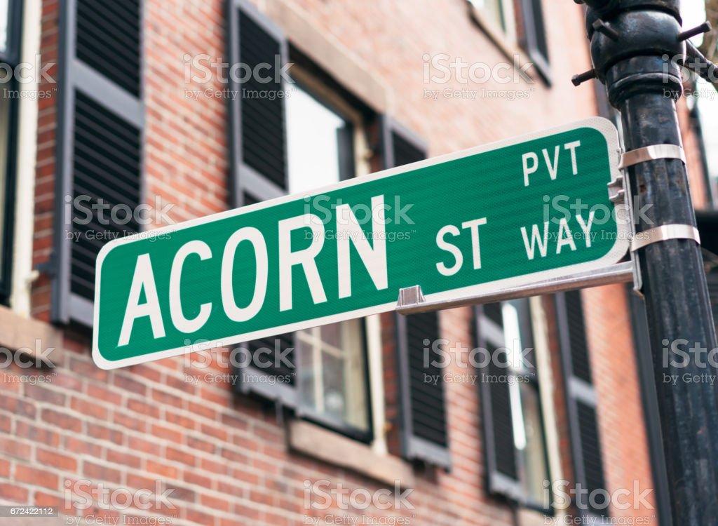 Sign for Acorn Street in Boston – Foto