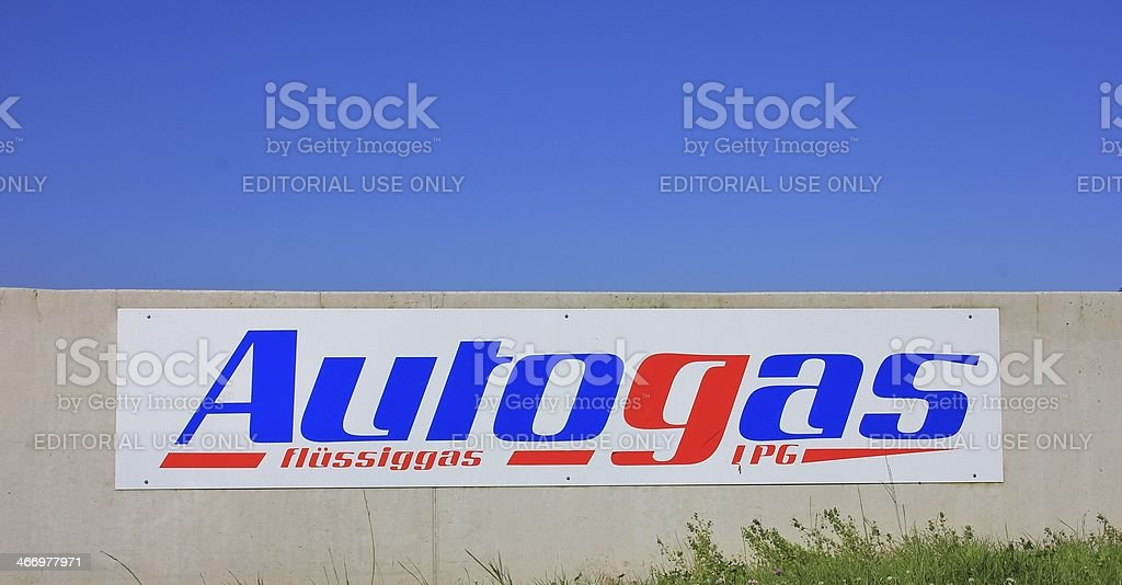 Sign for autogas stock photo