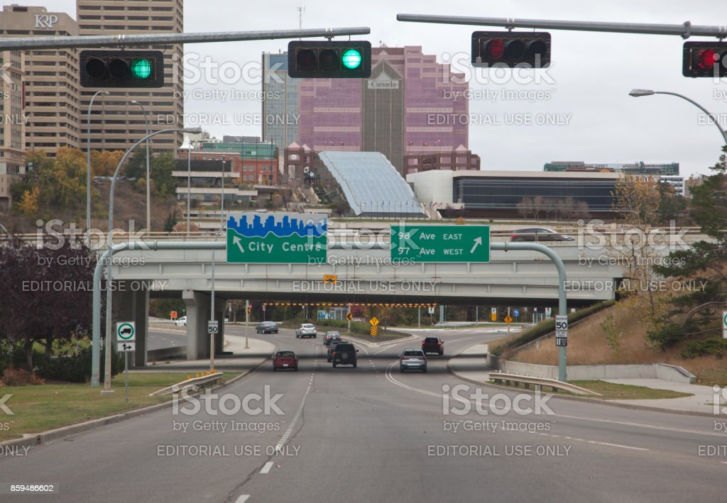 Sign for City Centre and 98 and 99 Ave, Edmonton on October 1, 2017 stock photo