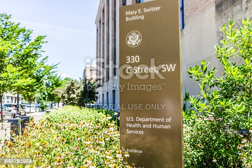 istock Sign for Department of Health and Human Services in downtown 844185964