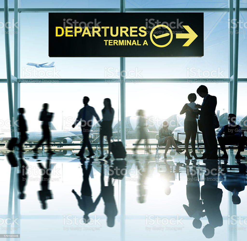 Sign for departures in an airport terminal royalty-free stock photo