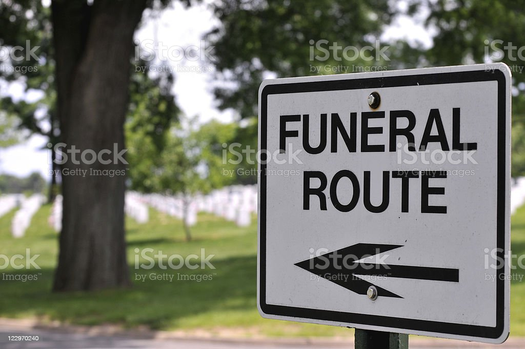 Sign for Funeral Route royalty-free stock photo