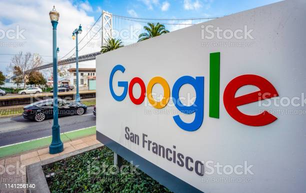 Sign For Google Officies In San Francisco Stock Photo - Download Image Now