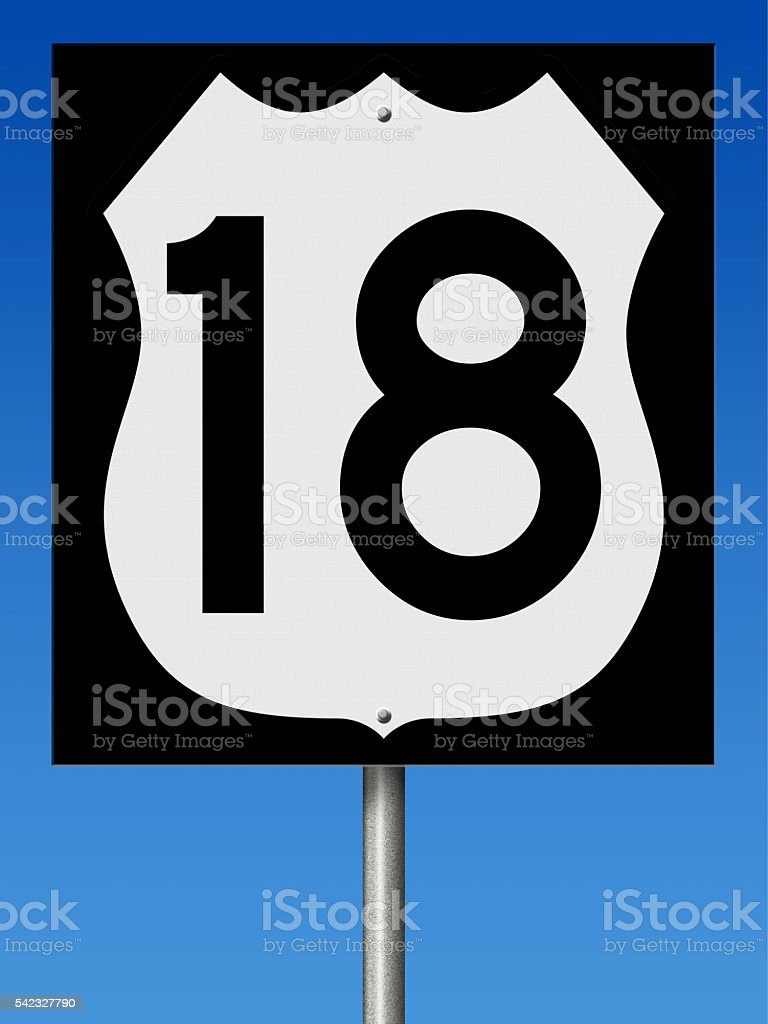 Sign for Highway 18 stock photo