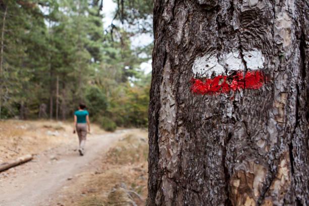 signe pour les randonneurs - randonnée corse photos et images de collection