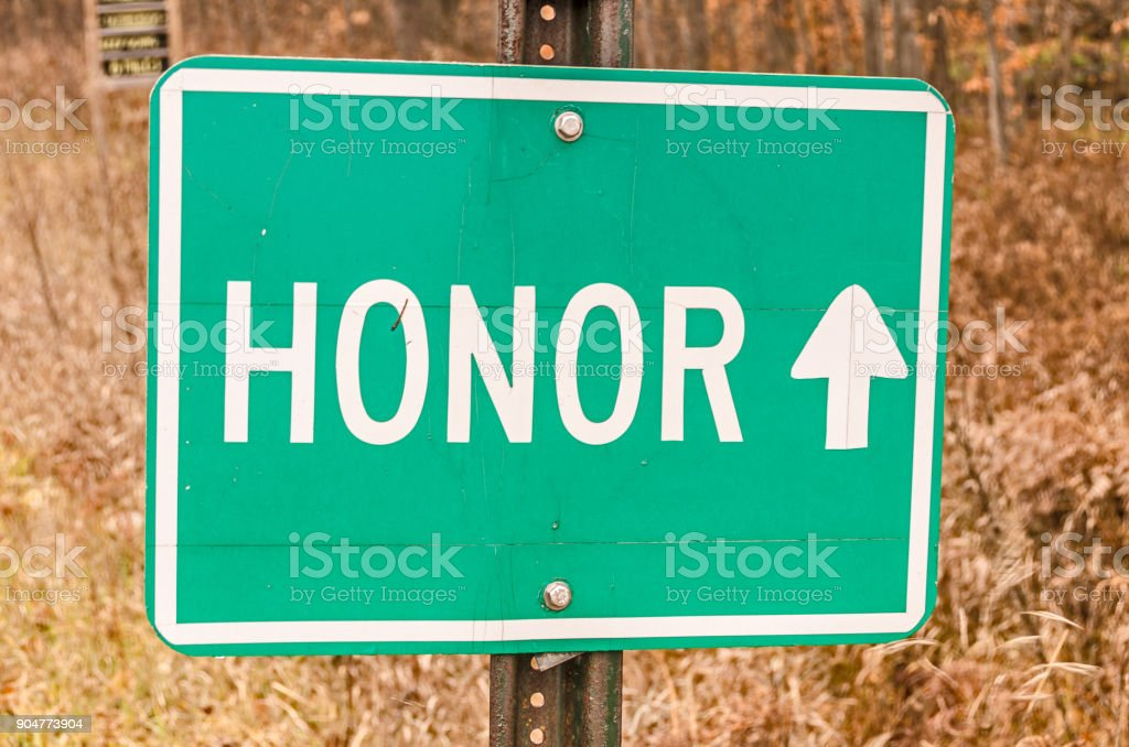 Sign for Honor with an Arrow stock photo